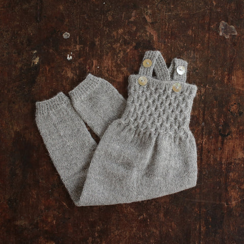 Hand-knitted Alpaca Baby Smock Romper - Light Grey - 0-12m