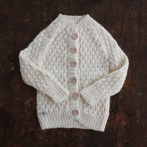 Hand-knitted Alpaca Smock Cardigan - Natural - 0m-4y