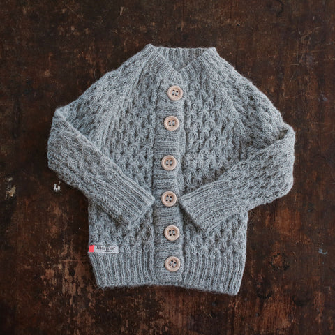 Hand-knitted Alpaca Smock Cardigan - Light Grey - 0m-4y