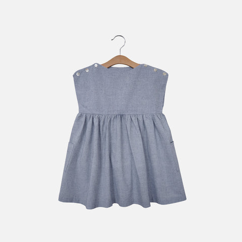 Cotton Rosie Dress - Blue Chambray - 12m-7y