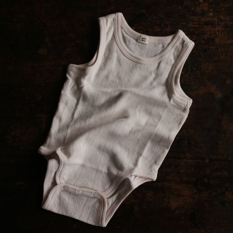 Organic Pointelle Sleeveless Body - Rose - 6-18m