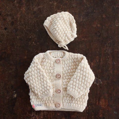 Hand-knitted Merino/Alpaca Baby Jacket and Bonnet - Natural - 0m-2y