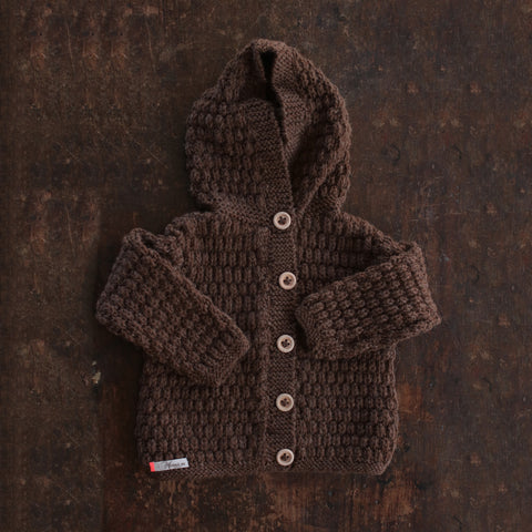 Hand-knitted Merino/Alpaca Kids Jacket - Dark Brown - 1-4y