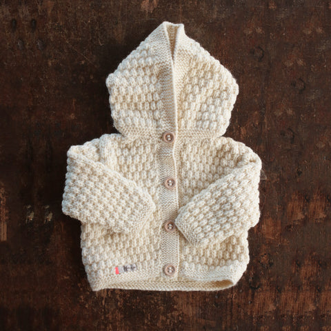 Hand-knitted Merino/Alpaca Kids Jacket - Natural - 1-4y