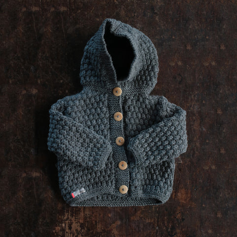 79c83d2b0 Sold out Hand-knitted Merino Alpaca Kids Jacket - Slate - 1-5y ...