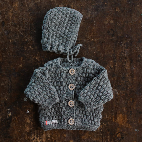 Hand-knitted Merino/Alpaca Baby Jacket and Bonnet - Slate - 0m-2y