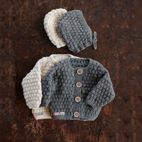 Hand-knitted Merino/Alpaca Baby Jacket and Bonnet - Slate