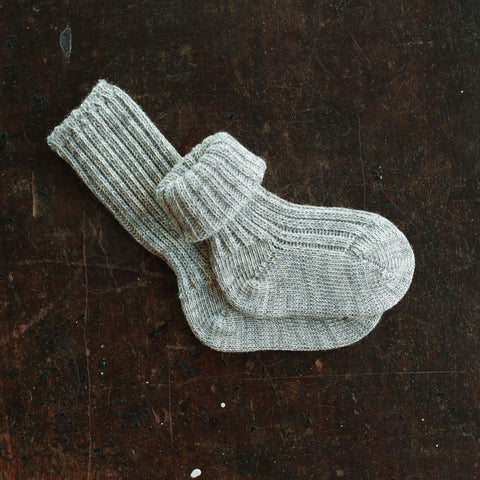 Organic Wool/Cotton Long Baby Socks - Grey - 0-18m