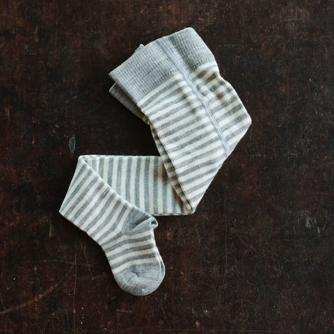 Organic Wool and Cotton Tights Stripe - Grey/Natural