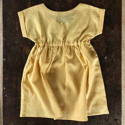 Cotton/Linen SS Dress - Mustard - 3-8y