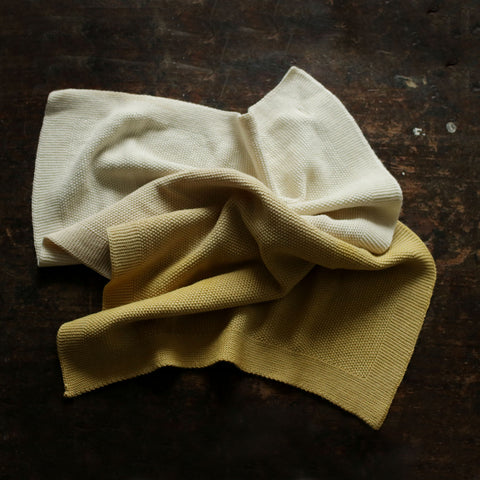 Merino Wool Baby Blanket/Swaddle - Natural Dyes - Natural / Ochre