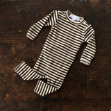 Merino Wool LS Bodysuit Stripe - Coffee/Ecru