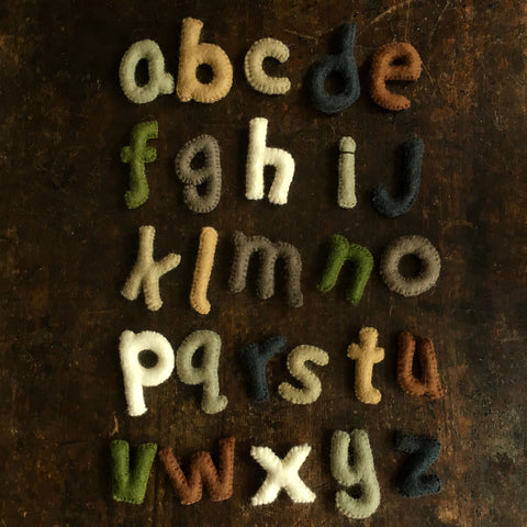Felted Wool Lower Case Alphabet - Natural