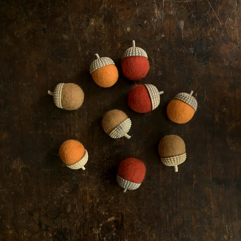 Felted Wool Acorns Set of 3 - Natural