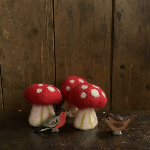 Felted Wool Mushrooms Medium - Set of 3