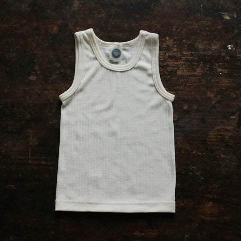 Organic Merino Wool, Cotton & Silk Sleeveless Top/Vest - Ecru - 18m-8y