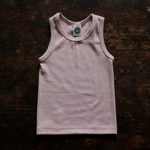 Organic Merino Wool, Cotton & Silk Sleeveless Top/Vest - Pale Pink - 18m-8y