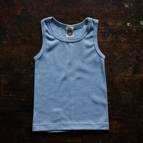 Organic Merino Wool, Cotton & Silk Sleeveless Top/Vest - Sky Blue - 18m-8y