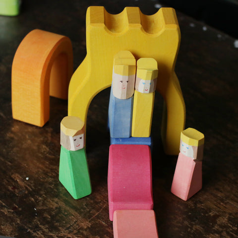 Handcrafted Rainbow Castle Set With 4 figures