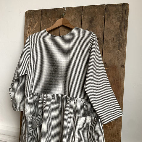 Women's Linen Pocket Dress - Grey/White Striped