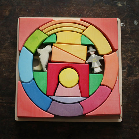 Handcrafted Rainbow Circus Block Set With 4 figures