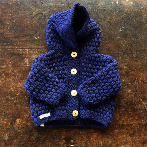 Hand-knitted Merino/Alpaca Kids Jacket - Navy - 1-2y