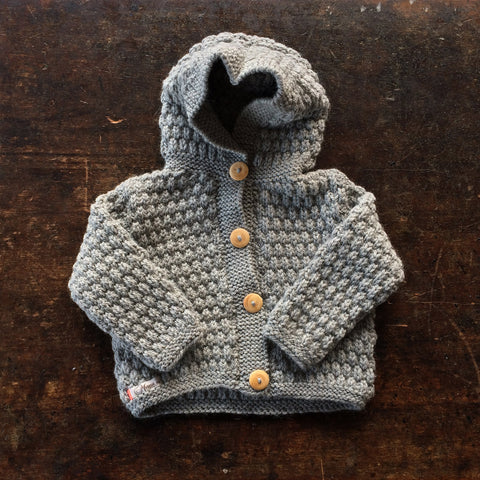 Hand-knitted Merino/Alpaca Kids Jacket - Light Grey - 1-2y