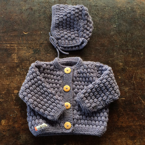 Hand-knitted Merino/Alpaca Baby Jacket and Bonnet - Grey Purple - 6-12m