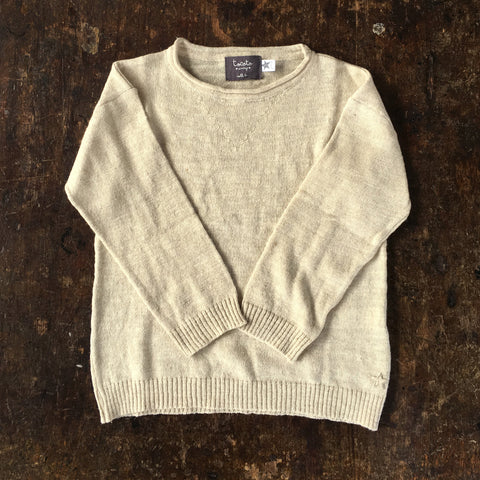 Knitted Cotton/Linen Sweater - Light Tan - 3-6y