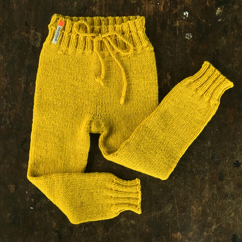 Hand-Knit 100% Wool Kids Pants - Curry - 2-6y