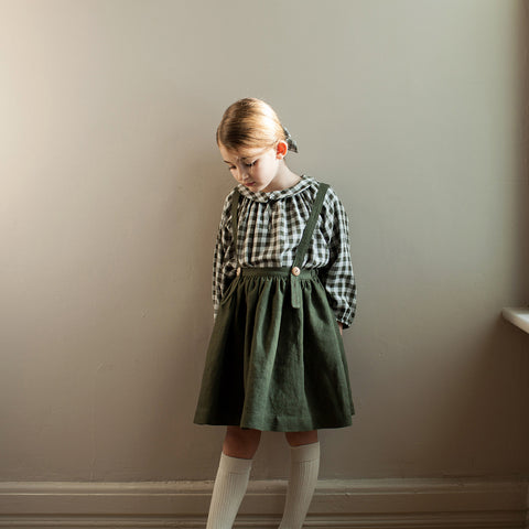 Cotton Double Gauze Agatha Tunic - Gingham Moss - 6m-9y