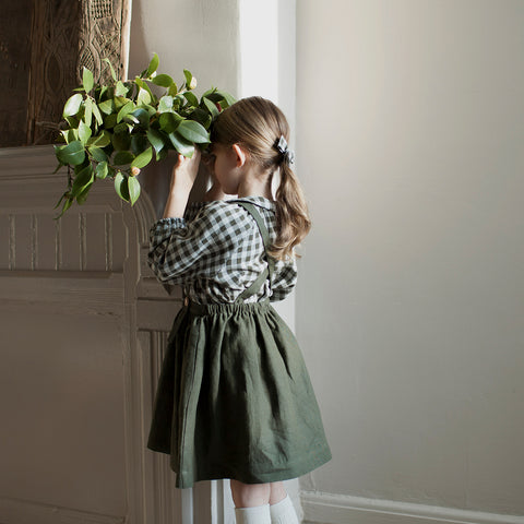 Washed Linen Mavis Skirt - Moss - 18-24m