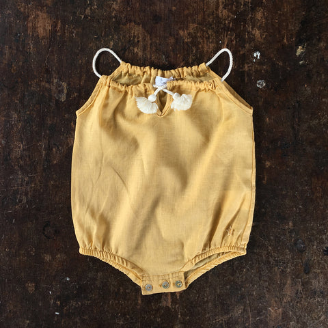 Cotton/Linen Romper With Cord Straps - Mustard - 3m-2y