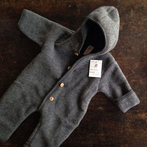 All sizes back in stock in August 2017! 100% Organic Supersoft Merino Wool Fleece Suit - Slate - 1-2y
