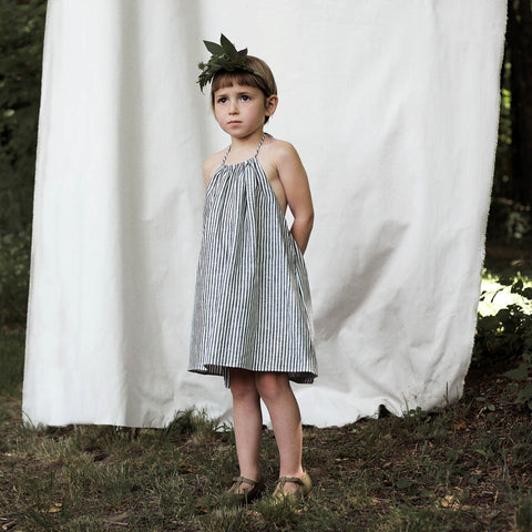 Linen Iona Dress- Ticking Stripe - 18m-7y