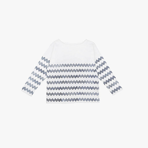 ZigZag Organic Cotton Top - White - 3-8y