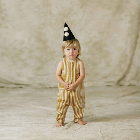 Cotton Pinstripe Button Jumpsuit - Mustard - 12m-7y