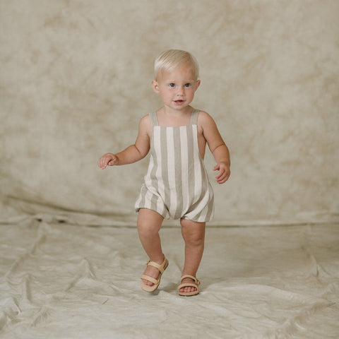 Cotton Linen Stripe Criss-Cross Romper - Ivory - 12-18m