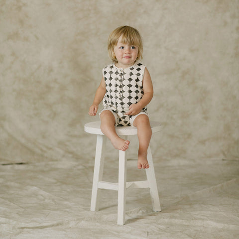 Cotton Diamond Sweat Romper - Vanilla - 3m-3y