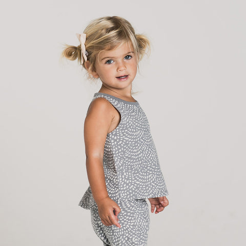 Cotton Dash Waves Tank Top- Stormy Blue - 3m-9y