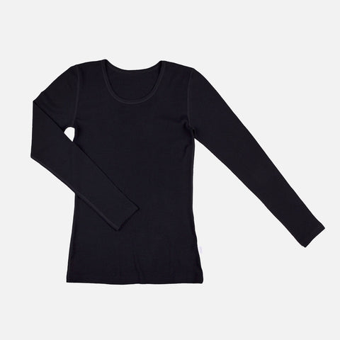 Women's Merino Wool Long Sleeve Top - Black