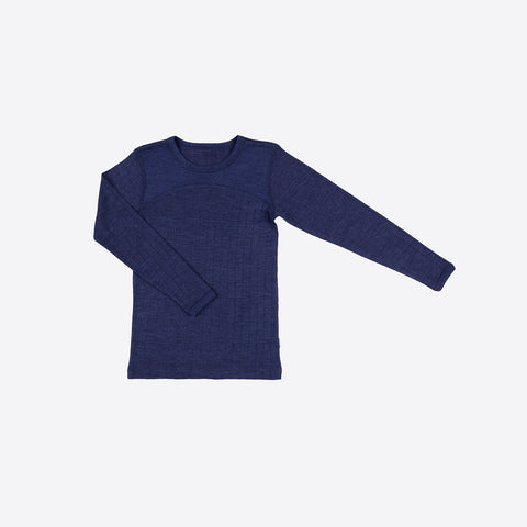 Merino wool/silk long sleeve vest Navy - 1y-12y