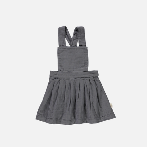 Organic Cotton Pinafore Dress - Iron Gate - 3-8y