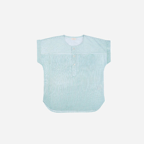 Ecole Stripe Cotton Shirt - Green - 3-8y