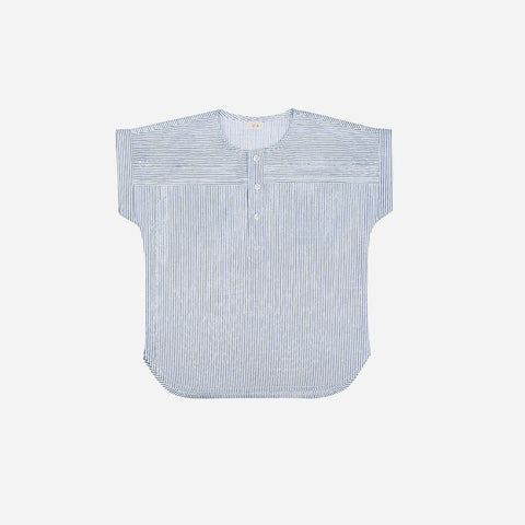 Ecole Stripe Cotton Shirt - Blue Stripes - 3-8y