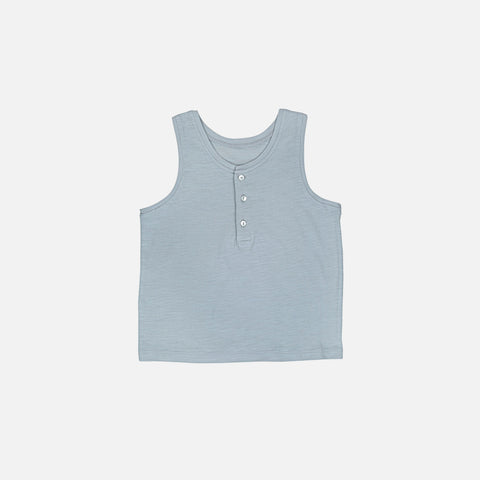 Cotton Buttoned Tank Top - Light Grey - 3-10y