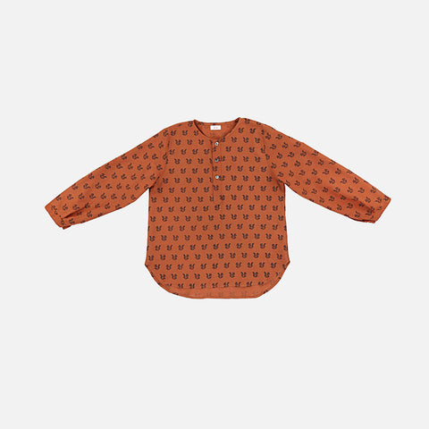 Tulsi Shirt - Ochre - Squirrels Black - 8y