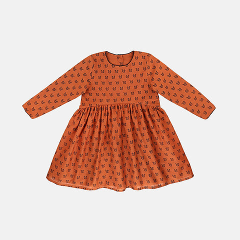 Cluny Dress - Ochre Squirrels Black - 8y