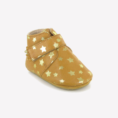 Eco leather slippers -  Kiny Stars - Natural 16-23