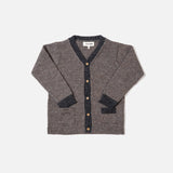 Alpaca V-Neck Cardigan - Wood/Charcoal - 18m-12y
